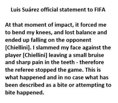 Suarez official statement